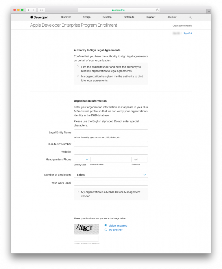 Apple Developer Enterprise Program Enrollment
