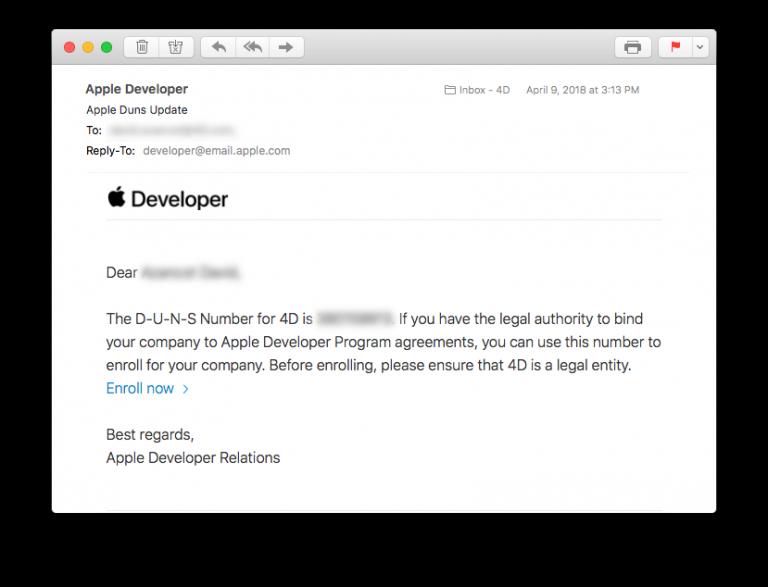 Apple Developer Enterprise Program · 4D for iOS Preview